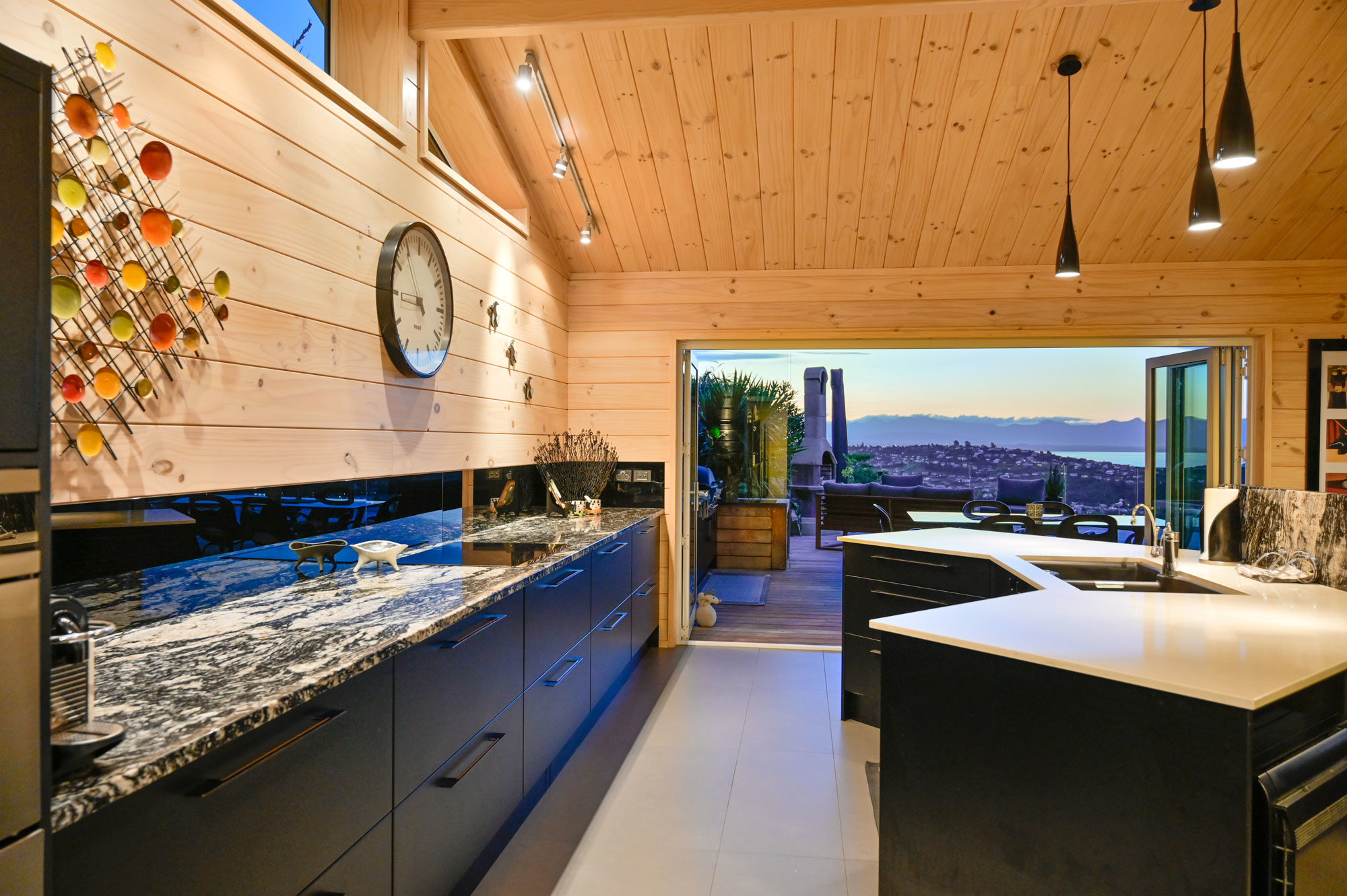 Kitchen against gabled end wall of Lockwood design and build in Nelson