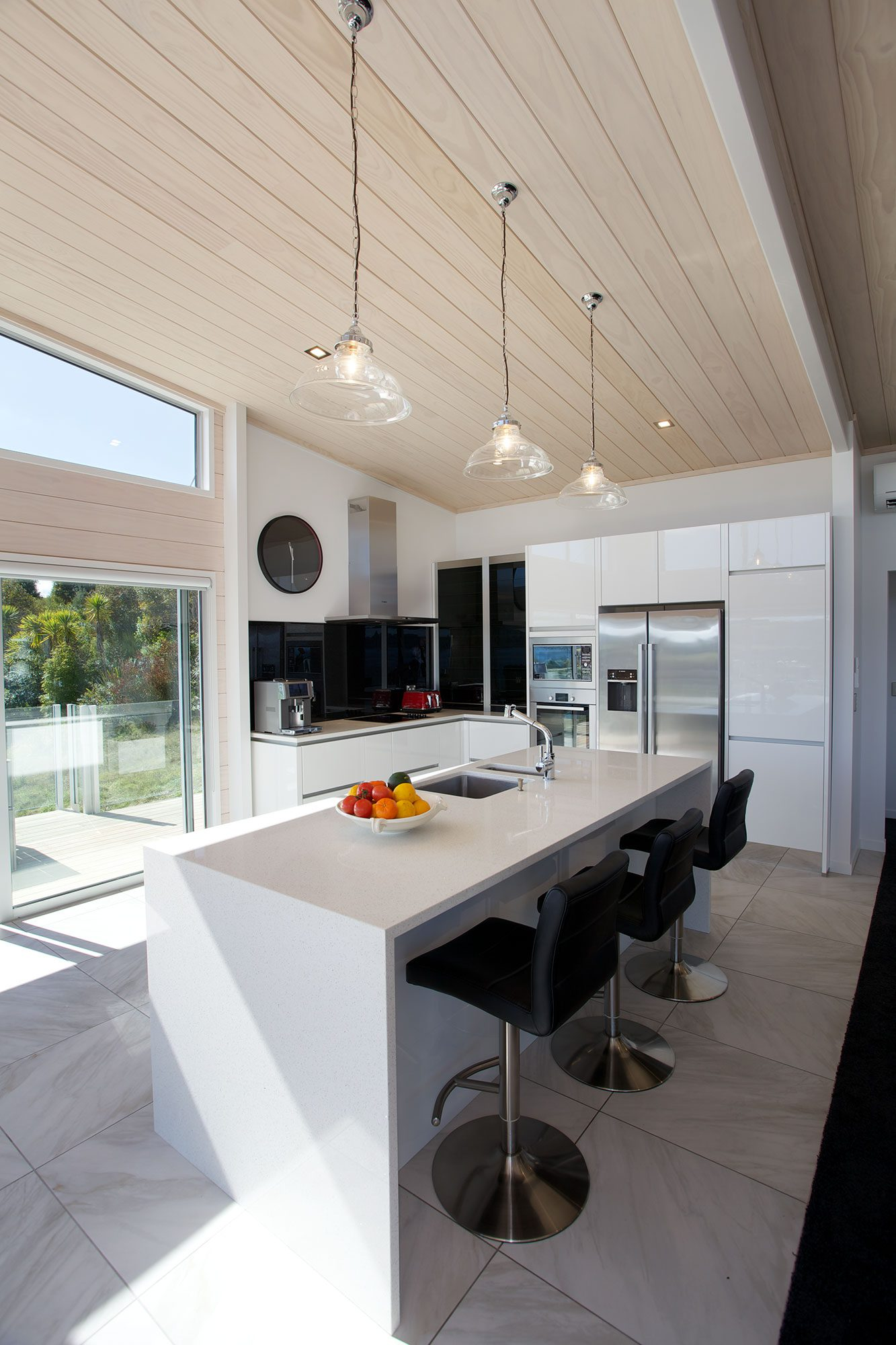 White kitchen with clear pines