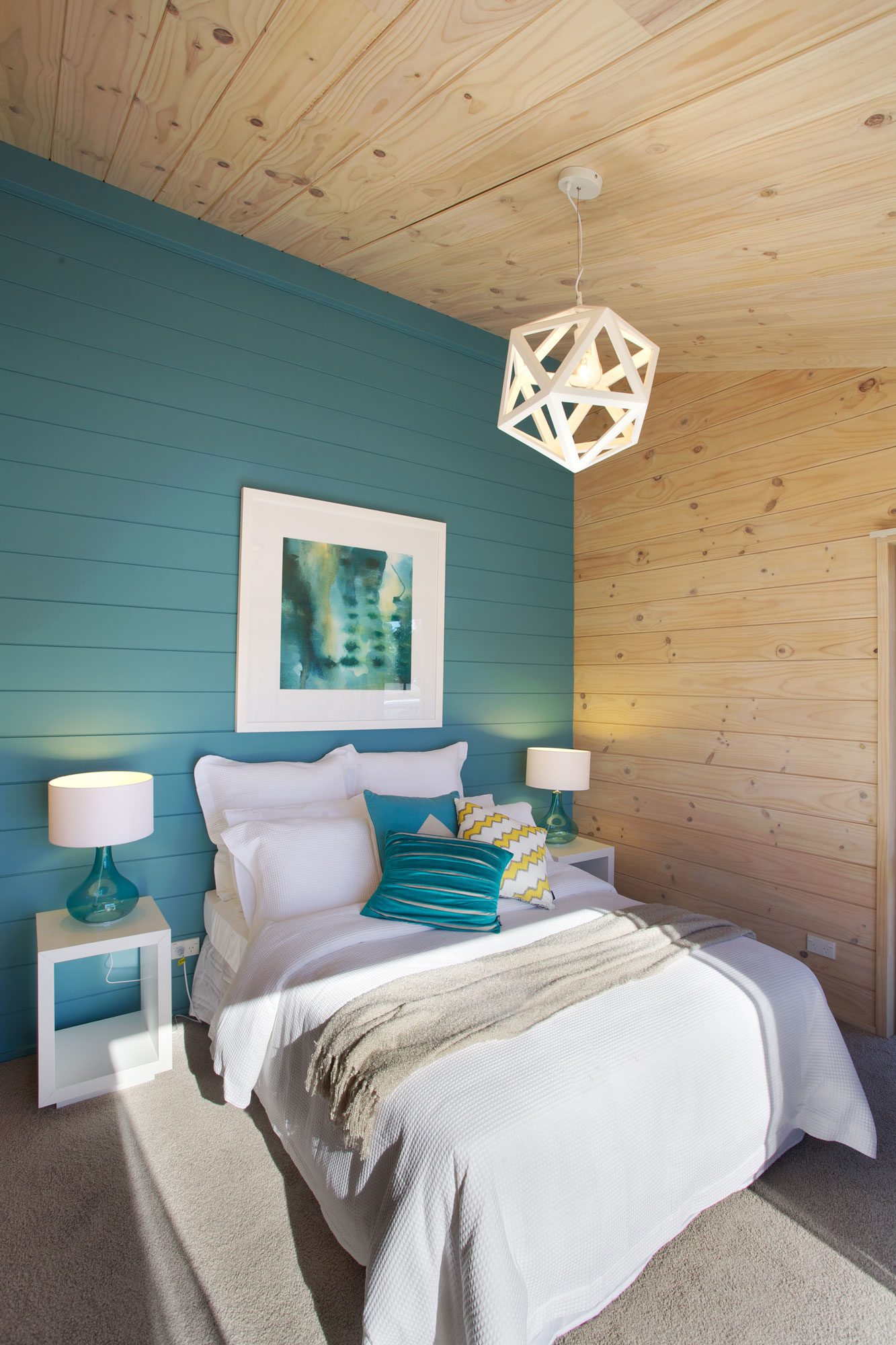 'Huka Falls Blue' painted feature wall in a Lockwood