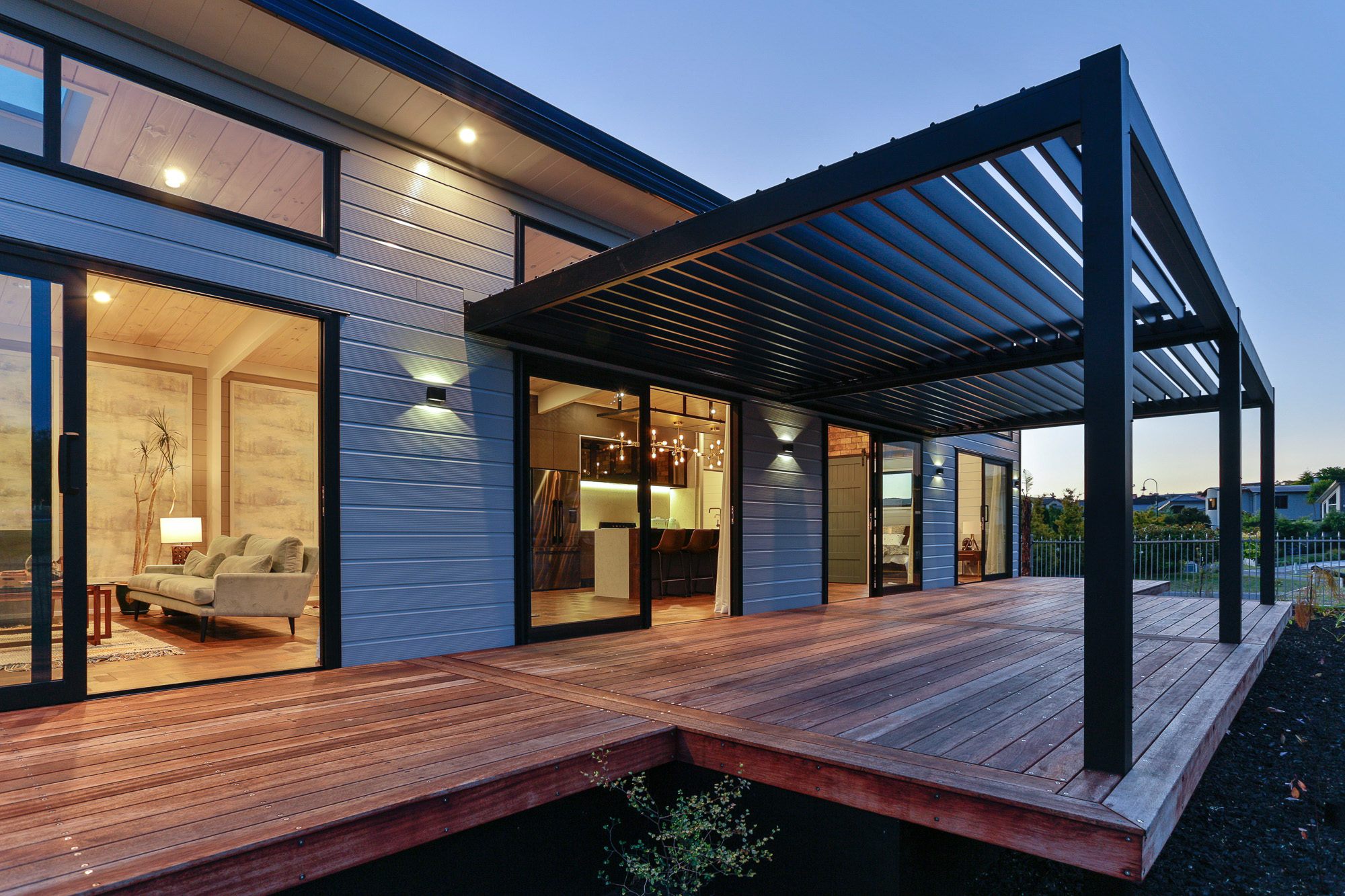 Lockwood Taupo Automated Louvred covered deck