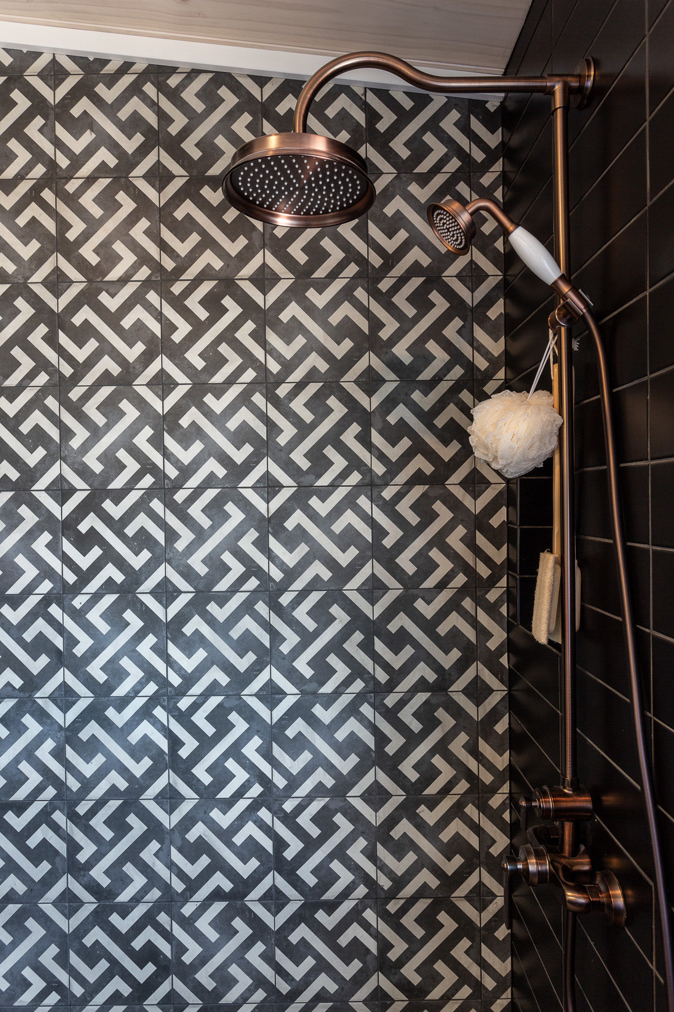 Lockwood Taupo Main Bathroom shower with retro tiling