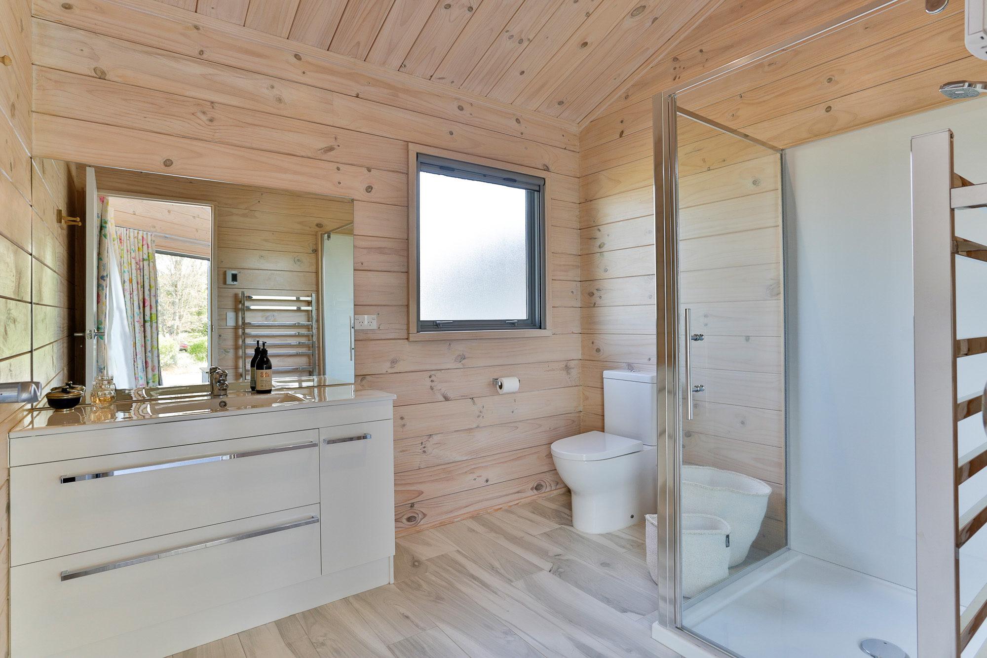 Bathroom in Lockwood home light blonded timber