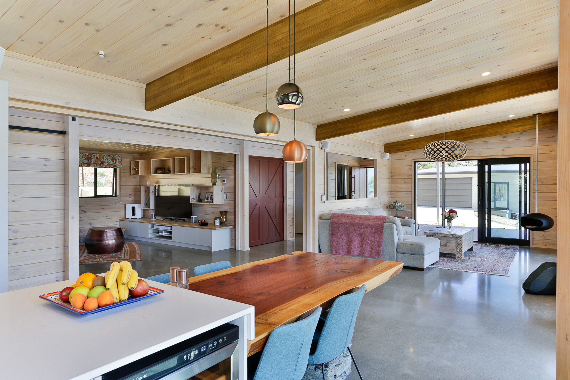 Large barn door opens up living space