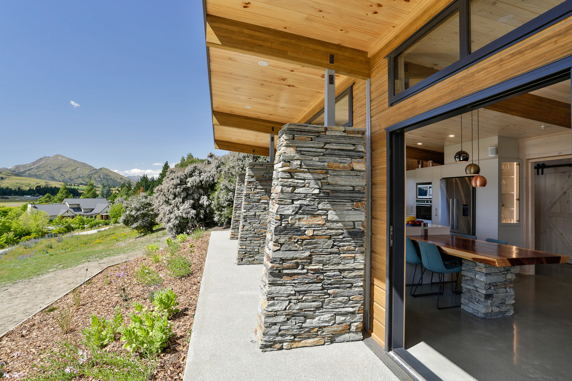 Local Stone used in pillars Wanaka home